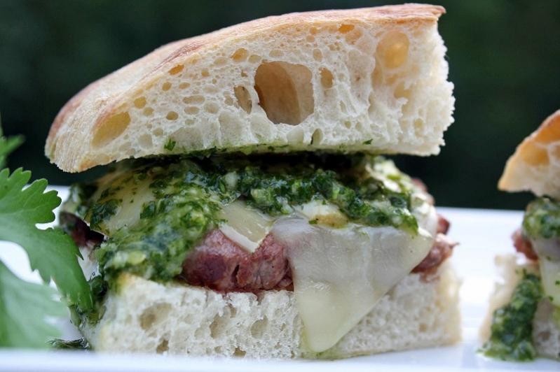 Steak sandwich with chimichurri sauce-image-jpg